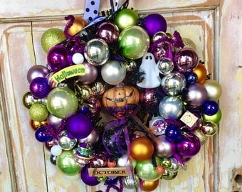 Halloween wreath made from vintage ornaments