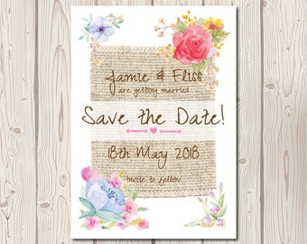 Rustic Watercolour Floral Wedding Save the Date Cards, personalised, flowers, hessian, matching invites available