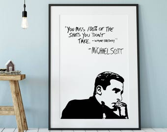 Michael Scott Wayne Gretzy Quote Poster, The Office TV Show Wall Art, Funny Cubicle Decor, Motivational Art Print, Michael Scott Quote Art