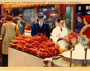 Fisherman's Wharf Outdoor Fish Market Crab Pots San Francisco CA Postcard 1944