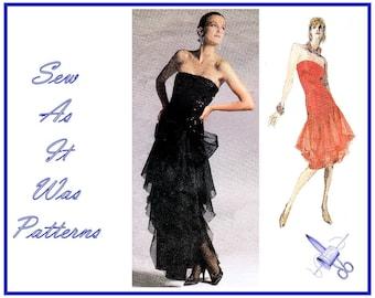 1980s Vogue Designer Original 1701 Bellville Sassoon Strapless Evening Cocktail Dress Flounce Skirt Vintage Sewing Pattern Size 12 Bust 34