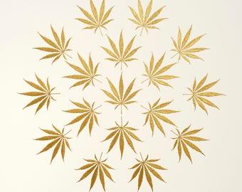 Cannabis Leaves – Gold Leaves – Original Painting – Handmade 6 Metallic Shades – Botanical Wall Art – Cannabis Art – In 2 Sizes – Unframed