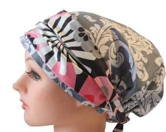Scrub Hat Cap Chemo Bad Hair Day Hat  European Banded Pixie Tie Back Grey White Damask with Pink Floral Band 2nd Item Ships FREE