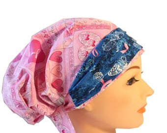 Scrub Hat Cap Chemo Bad Hair Day Hat  European BOHO Banded Pixie Tie Back Pink Ribbon Cancer Awareness Blue Band 2nd Item ship FREE