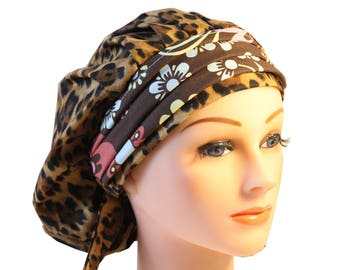 Scrub Cap Surgical Medical Chemo Chef Vet Nurse Hat Banded Bouffant Tie Back Animal Leopard Print Floral 2nd Item Ships FREE