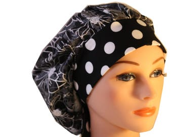 Scrub Cap Surgical Hat Chef  Dentist Hat Tie Back Bouffant Classic Black Grey Stencil Floral Dots 2nd Item Ships FREE