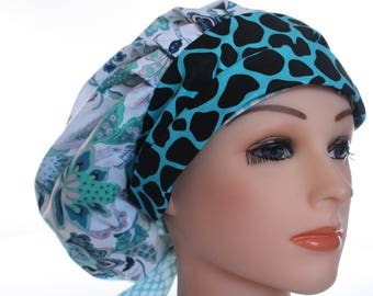 Scrub Cap Surgical Medical Chemo Chef Vet Doctor Nurse Hat Banded Bouffant Tie Back Denim Blue Floral Giraffe Animal 2nd Item Ships FREE