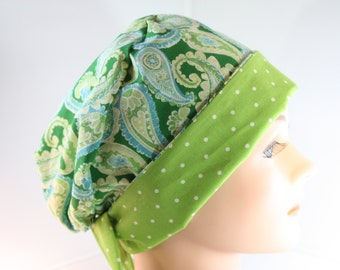 Scrub Hat Surgical Scrub Cap Chef Nurse Dr Chemo Hat Flirty Front Fold Pixie Dark Green Paisely P008 2nd Item Ships FREE