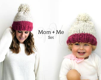 Mom and Me Set, Mother Daughter Hats, Childrens Pom Hats, Knitted Hat Set Gift