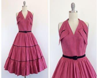 40s Cotton Halter Dress / 1940s Vintage Patio Sun Summer Dress / Medium / Size 6 to 8