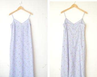 pastel blue floral slip maxi summer dress 90s // L