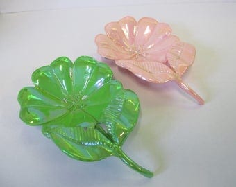 Vintage set  of  enameled ring flower holders used good  condition