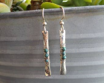 Handmade Sterling Silver hammered long drop earrings wrapped with three small turquoise beads