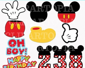 50% OFF SALE M. Mouse Digital Clipart / Diy Mickey Party for Personal and Commercial use / Instant Download