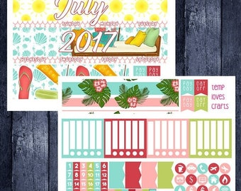 On Sale July Summer Monthly Stickers for 2017-2018 Recollections Planner