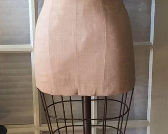 Vintage Cast Iron Caged Ladies Dress Form Mannequin Original Base and Castor Wheels