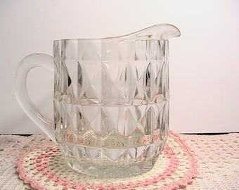 Pitcher, Small Glass Juice Pitcher, Etched Glass PItcher