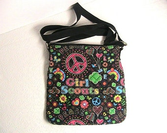 Girl Scouts Purse, Girl Scouts Hand Bag, Peace Colorful Girl Scouts Bag and Coin Purse