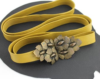 Vintage Ornate Bronze Leaf Buckle on Mustard Yellow Leather Belt - adjustable up to 55 inches