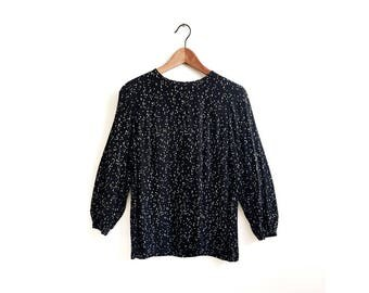 SAMPLE SALE! Polka Dot Blouse, Long Sleeve Black Blouse, Black Clothing, Everyday Blouse, Effortless Tops, Print Top, Size S/M