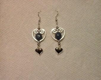 Earrings-Dangle Earrings-Silver-Gold-Open Heart-Charm-Pierced Earrings