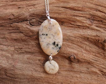 Lake Superior rock and sterling silver necklace, beach stone jewelry, rock pendant, Christmas, stocking stuffer, birthday, bridesmaid gift