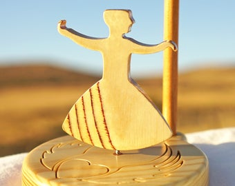 Sufi magnetic wooden dancer- Magnet toy- spin toy- dancing  with wind in a magnetic field- HandMade gift desk accessory