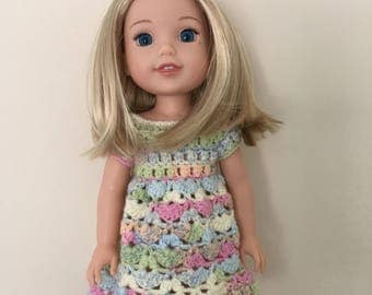 "14.5 inch doll dress. Hand crocheted dress for 14.5"" doll such as American Girl Wellie Wishers. Doll outfit. Dolls clothes."