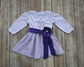 Girl Monogrammed Dress-Personalized Girl Dress-Girl Portrait Dress-Purple Dress-Girl Lavender Dress-Girl Spring Dress-Girl Easter Dress