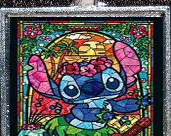 Disney Lilo & Stitch Hula Hawaiian Ukelele Stained Glass Silver Pendant Necklace