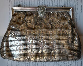 Vintage Whiting and Davis Mesh Purse - 1940s Silver Whiting and Davis Evening Bag