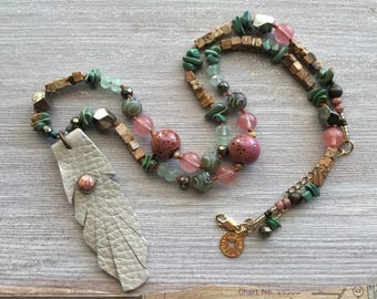 Artisan Necklace, Southwest Style, Hand-Knotted, Leather Feather, Pink and Green, Natural Turquoise, Gold Filled Beads, Pink Quartz