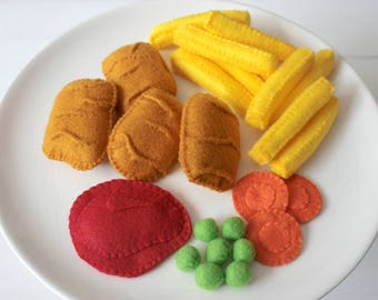 Felt Food Chicken Nuggets and Chips Felt Play Food Set, Felt Kids Meals, Plush Toys for Pretend Play, Perfect for Play Kitchen!