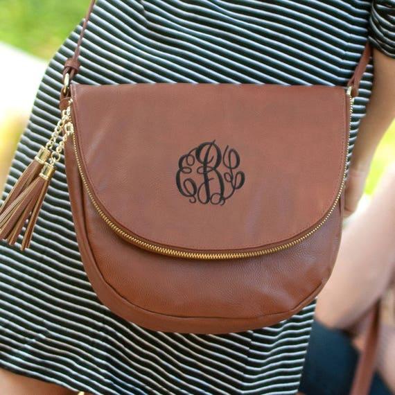 camel sienna tassel crossbody purse monogram purse personalized gift monogrammed crossbody bag