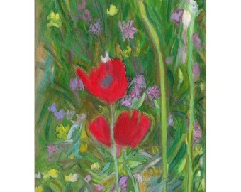 red poppy print, red flower oil painting, landscape painting, field of flowers,Judiaca art,Israeli art,green decor