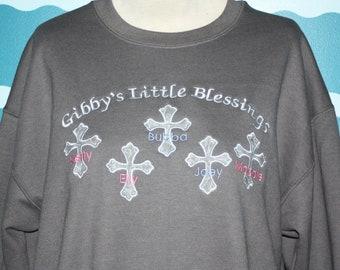 Grandma Sweatshirt Personalized - Grandparent Shirt - Nanna Sweatshirt - Gigi Shirt - Custom Embroidery - Grandkids Names on Sweatshirt