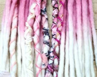 Custom Wool Dreads Handmade Hair Extensions Wool Dreads Ombre Hair Accessories Set of 12