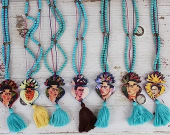 Handmade Frida Kahlo Necklace with Tassel-Hand painted-Folk Art-Artist-Turquoise-Glass Beads-Tassel-Boho Accessories-Birthday Gift-Fiesta