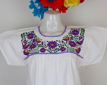Frida Style Mexican Hand Embroidered Peasant Blouse 100% Cotton/Manta -White BOHO-Hippie-Summer- Fiesta Wear- Crochet-Costume-Beach Coverup