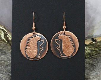 Copper Hedgehog Earrings - Handmade