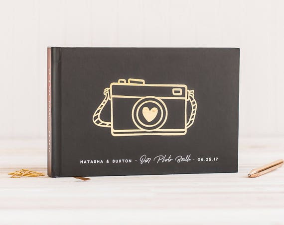 Wedding Photo Guest Book landscape wedding guestbook wedding photo book Gold Foil wedding guest book photo guest book horizontal guest book