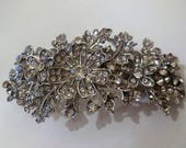 Hair Clip Rhinestone Silver Tone Metal Floral Design Bridal Hair Accessories Prom Wedding Special Occasion Evening Formal Wear Vintage Retro