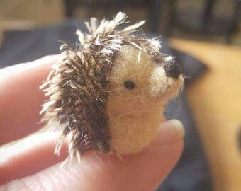 Tiny micro miniature needlefelted critter,  a wool hedgehog