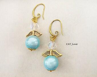 Earrings Angel wings gold plated vintage