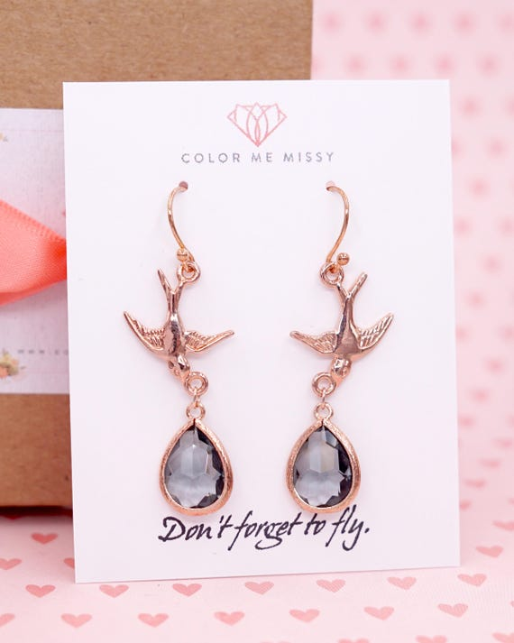 Rose Gold Love Birds Earrings - don't forget to fly, grey teardrop Woodland Wedding jewelry, brides Bridesmaid bridal shower jewelry E324