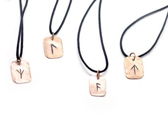 Carved Rune Copper Necklaces - Norse