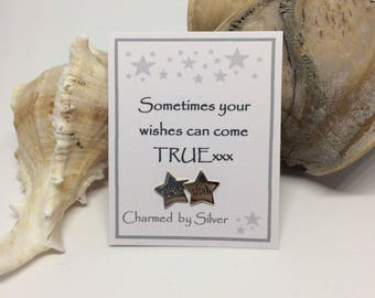 Sterling Silver Wish Star stud Earrings with Message