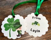 12 Personalized Tags - Kids St Patricks Day Tags - St Patricks Party Favor Tags - St Patricks Treat Bags - St Patricks Party Favor Bag