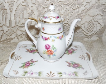 Vintage Shumann Germany Roses Design Teapot And Tray Set Protruding Roses Set #82 Stamped