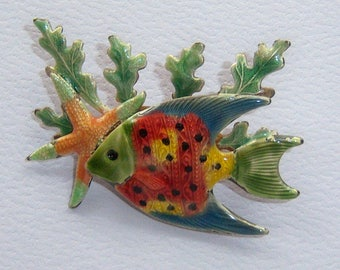 Angel Fish Brooch. Kelp Brooch. Mid Century Brooch. Nautical Brooch.